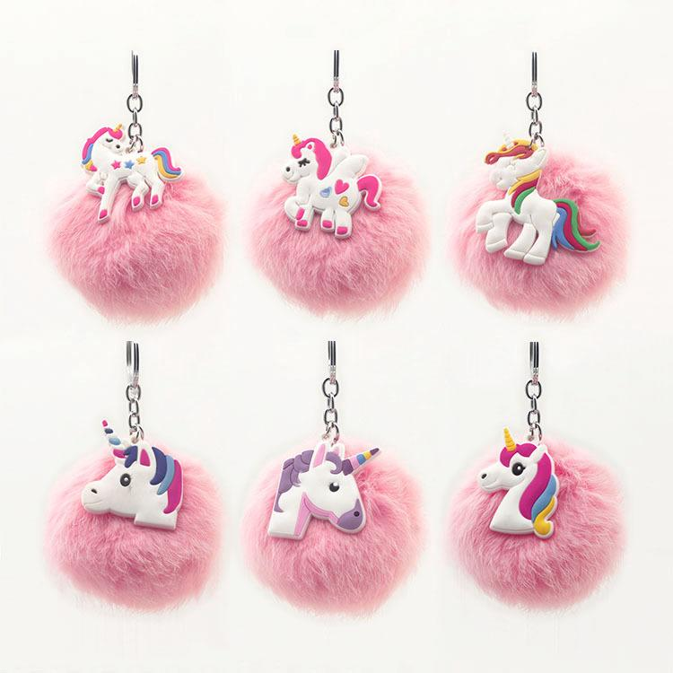 Women/'s Jewelry Key Ring Handbag Pendant Artificial Foxes Fur Unicorn Key Chain
