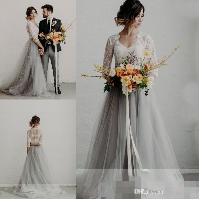 Discount 2019 Summer Grey Tulle Wedding Dresses Bridal Gowns V