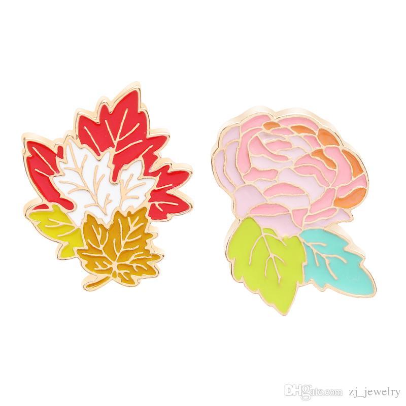 Rose e foglie spilla spilla spilla di personalità della moda abito di jeans abito cappello pin gioielli due scegli uno