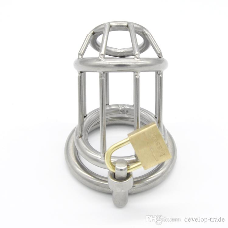 Dispositivo de Castidade Masculino Aço Inoxidável Ferramenta Trap Bloqueio Hot Fetiche sexo Pênis Anéis brinquedo A158
