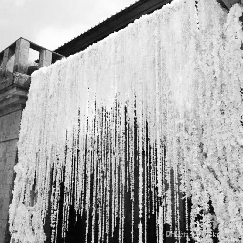 79 Polegada Cada Faixa Orquídea Wisteria Vines Grinaldas de Flores Artificiais de Seda Branca Para Festa de Casamento Decoração Tiro Foto Adereços Suprimentos
