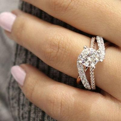 Fashion Crystal Ring Full Diamond Wrap Engagement Wedding Rings for Women Will and Sandy Drop Ship 080379