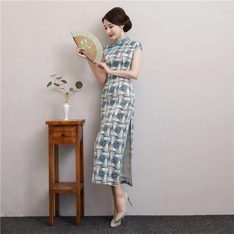 2020 섹시한 실크 중국어 치파오 긴 인쇄 높은 목 분할 칼집 파티 정장 드레스 빈티지 여성 우아한 치파오 드레스