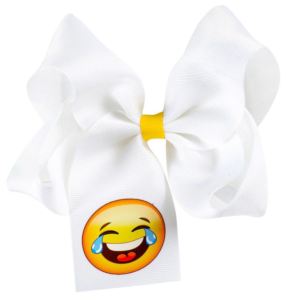 Filles 12 PcsLote Nouvelle Mode À La Main Boutique Solide Blanc Ruban Emoji Cheveux Arc Avec Clip Pour Enfants Filles Cheveux Accessoires Chapeaux