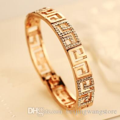 Vente Hot évider Bracelet pour femmes plaqué or cristal Chrams Bracelet Parti Bangles Costume Tempérament Bijoux