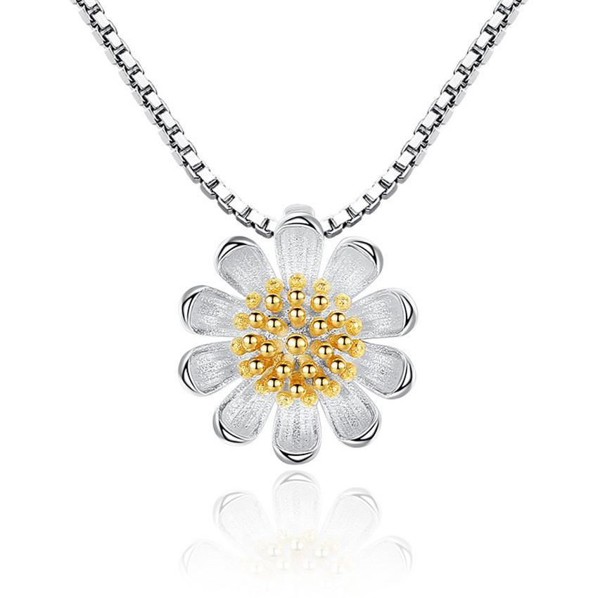Corea Trendy Accessori Argento Placcato Crisantemo Fiore Pendenti Collane Gioielli di moda femminile Donna Donna Regalo di San Valentino