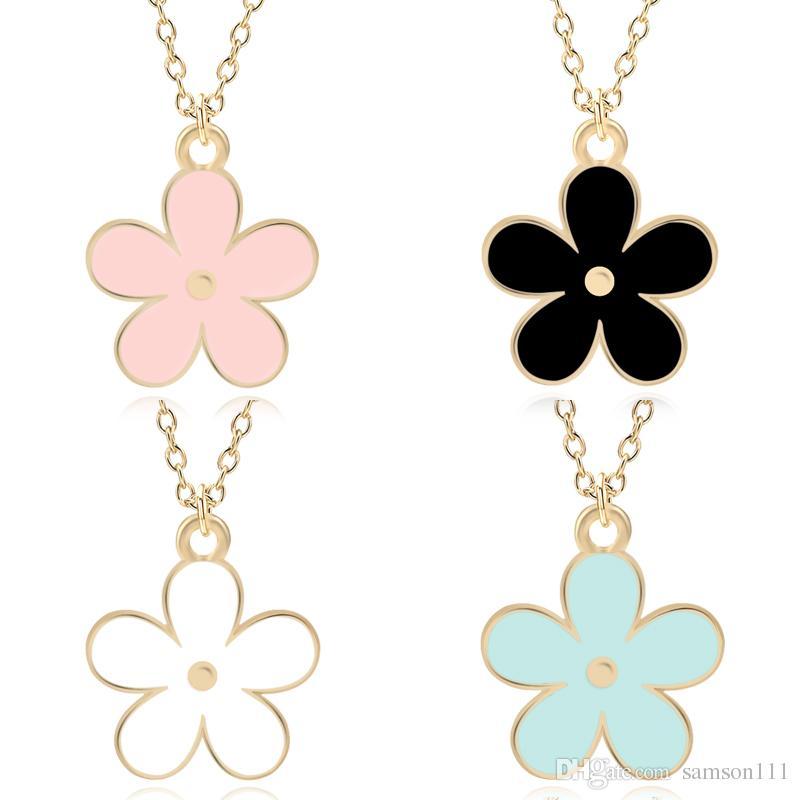 Bunte süße Emaille-Blumen-Charme-Anhänger niedlichen Mini-Metall Goldkette Daisy Pflanzen Statement Ketten für Frauen Schmuck Colar