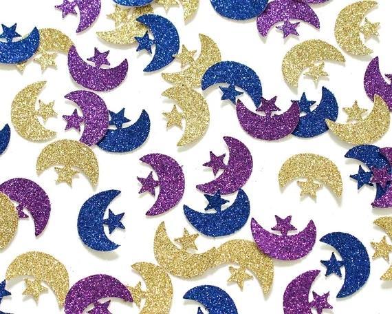 Glitter Eid Mubarak Confete Eid Confetti Eid Decoração Favores Presente De Casamento Islâmico Ramadan Lua e Estrelas