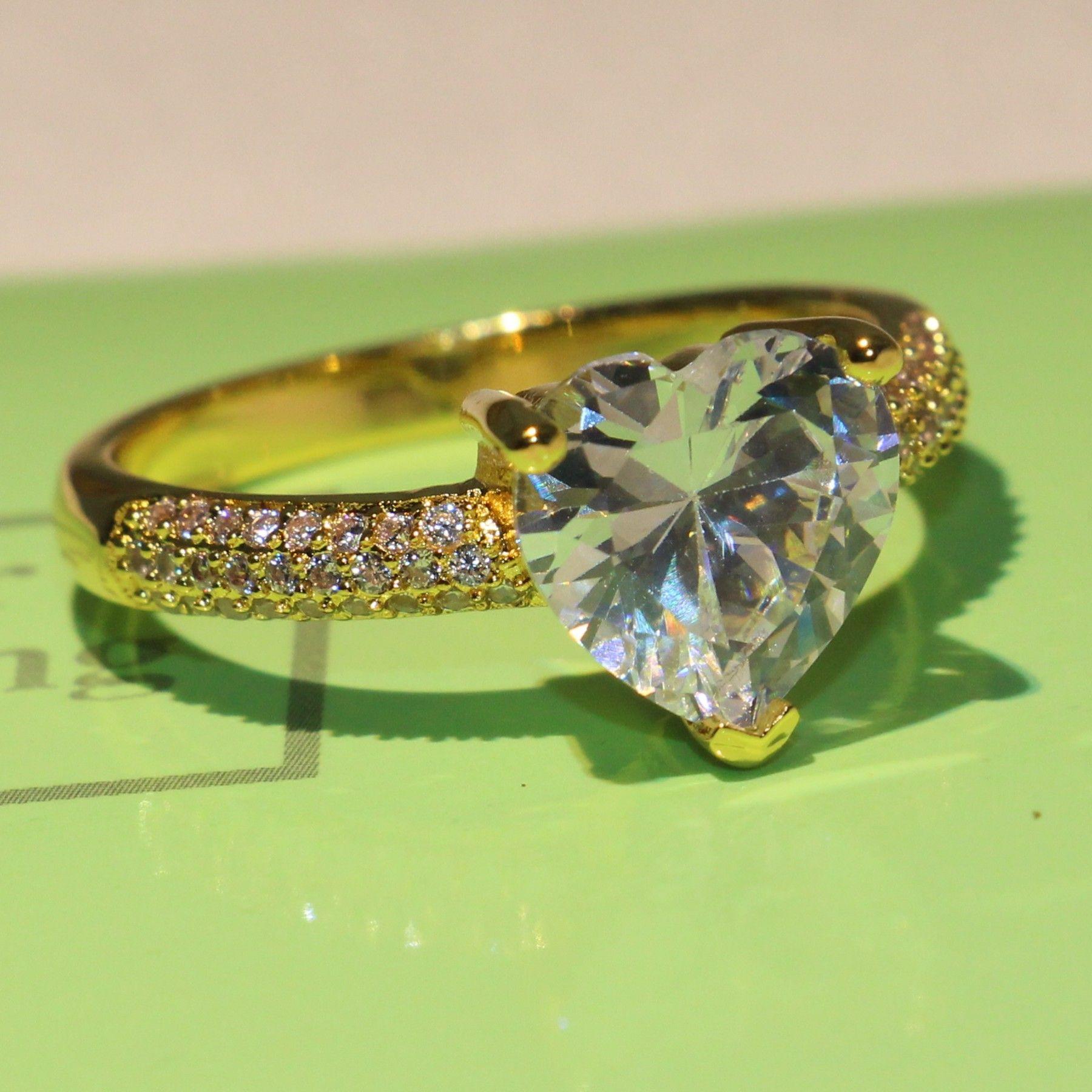 2018 nuovo arrivo promessa anello per le donne scintillanti gioielli in argento sterling 925 oro giallo riempito bianco topazio cz cuore femminile banda regalo anello