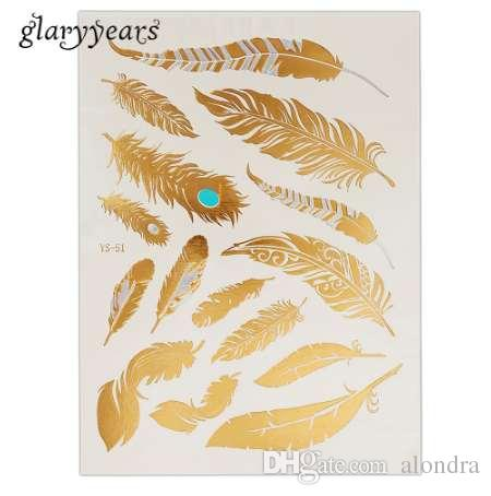 1 قطعة فلاش لامع للماء الوشم الذهب والفضة المرأة الأزياء الحناء YS-51 الطاووس ريشة تصميم المؤقتة الوشم عصا المقرب