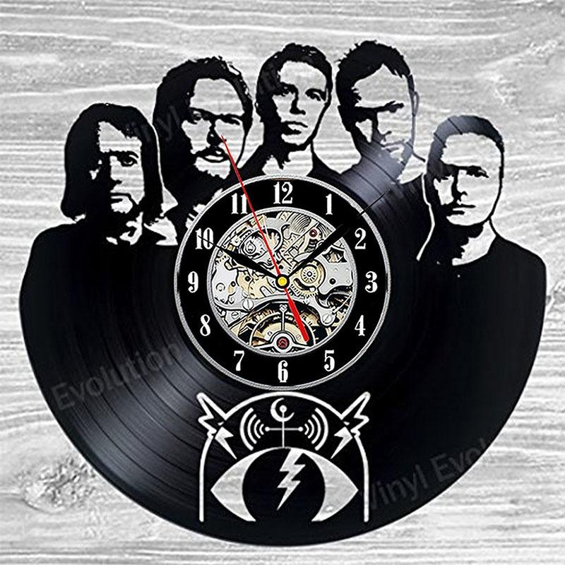 diy gift for clock change 2018 Pearl Jam Vinyl Record Clock Wall Decoration Modern Vintage Art Room LED with 7colors