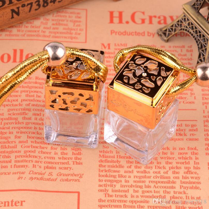 Haute qualité 5 ml voiture suspendus parfum diffuseur bouteille en verre carré voiture parfum bouteille suspendus décoration LX3012