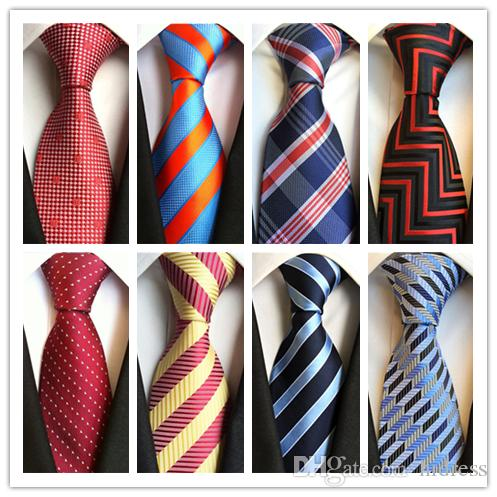 2019 Lazo de la moda caliente corbata clásica para hombre corbata formal de la boda de negocios marino Rojo Negro Lazo de la raya para los hombres Accesorios lazo del novio corbata