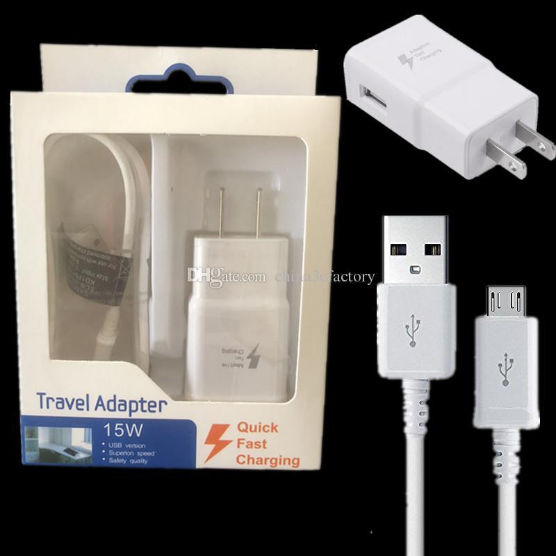 Быстрая зарядка 2 в 1 15W адаптивная быстрая зарядка US EU Travel Home Wall Charger + 1.5M Micro USB-кабель для S8 плюс S6 S7 Edge Note 4 5