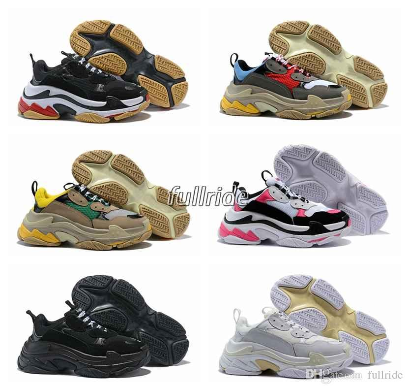 2018 New Triple S Shoes Man Woman Sneaker High Quality Mixed Colors Thick Heel Grandpa Dad Trainer Triple-S Casual Shoes With Logo