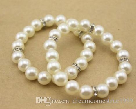 10PCS / الكثير أزياء 10MM الأبيض لؤلؤة أساور كريستال الخرز فاصل مجوهرات DIY للمرأة