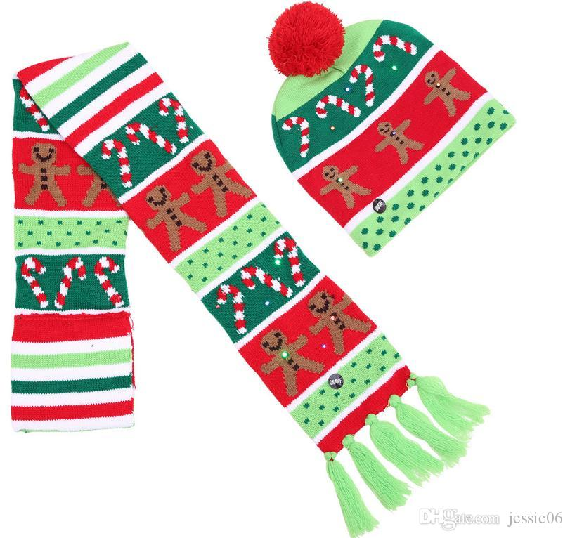 Light up flashing knitted hat scarf LED Christmas party bobble hat kid adult Winter Warm Beanie hats santa gift XMAS stocking filler