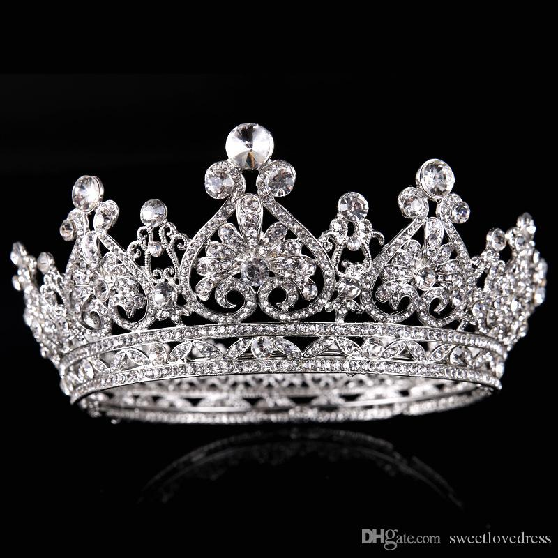 Gelin Takı Gümüş Tam Daire Rhinestone Büyük Taç Gelin Prenses Taç Düğün Aksesuarları Avrupa Taç Saç Aksesuarları