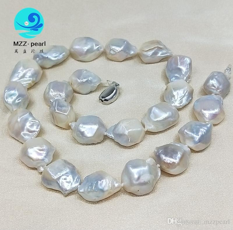 perles d'eau douce formes irrégulières tour de cou baroque diamant baroque blanc 14mm
