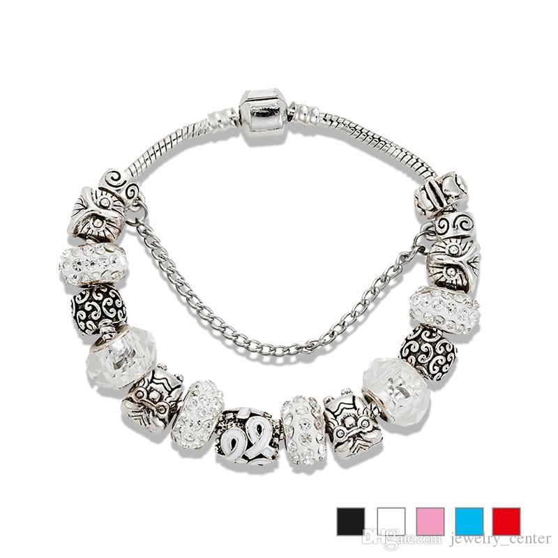 925 الفضة الاسترليني مطلي البومة سحر واضح تشيكوسلوفاكيا الماس الخرز سوار للمجوهرات باندورا سحر سوار المرأة هدية