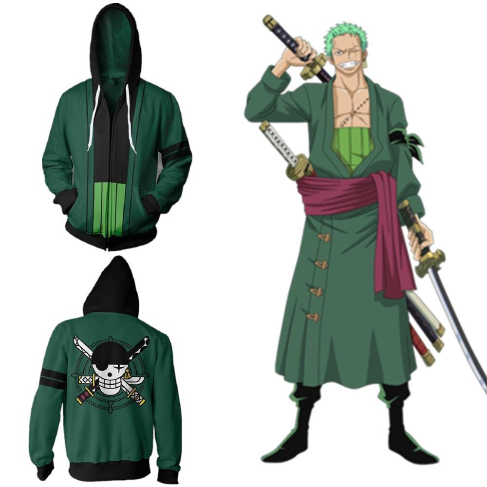 Tamaño asiático Japón Anime One Piece Roronoa Zoro Cosplay Traje de manga larga con cremallera chaqueta Chaqueta con capucha