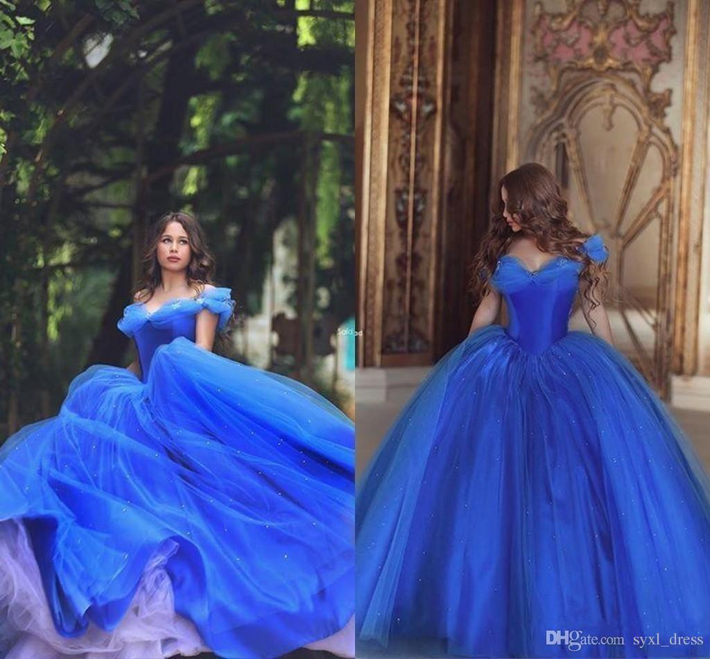 2018 Cinderella Schulterfrei Prom Kleider Lange geschwollene Prinzessin Falten Abendkleidung Tüll Quinceanera Spezielle Ballkleid Kleider Abendkleid