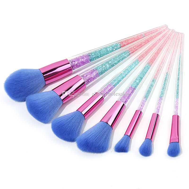 Hot 7 PCS Crystal Maquillage Brush Foundation Mélange Poudre Fard À Paupières Contour Transparent Poignée Beauty Tool Set