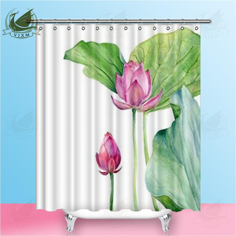 """Vixm Home Watercolor Illustration Two Lotus Fabric Shower Curtain Lotus Pond Bath Curtain For Bathroom With Hook Rings 72"""" X 72"""""""