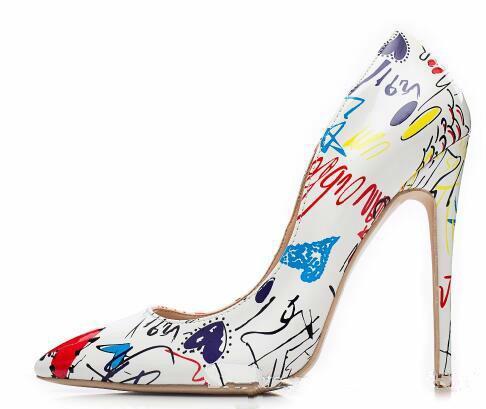À Venda 2018 Vermelho LBottom Specia Graffiti Colorido Mulheres Bombas Sexy Stiletto Heaves Saltos Primavera Festa de Casamento Mulheres Sapatos Sapato Feminino