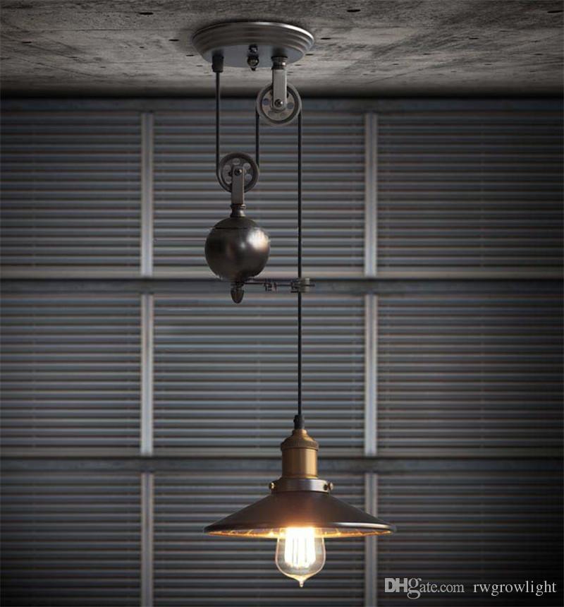 Creative Pulley Lifting Retro Chandelier Adjustable DIY E27 Art Ceiling Pendant Lamp Vintage Loft Antique Fixture Light