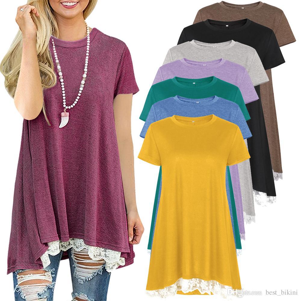 Mulheres Lace Hem Sólidos T-shirt Casual Básico manga curta vestido de verão camisas, T Moda Blusa gola redonda Túnica Roupa AAA117