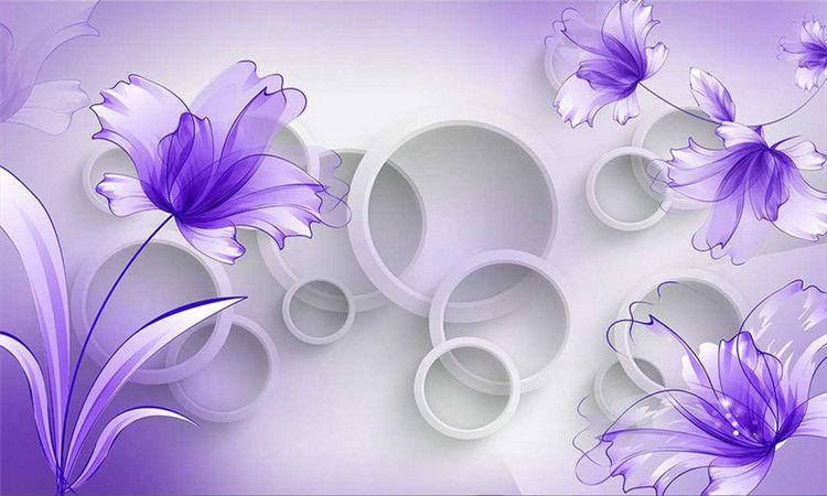 Compre Purple Flower Wallpaper 3d Mural De Pared Para La Sala De Estar Tv De Fondo Wall Art Decor Print Photo Wall Paper Papier Peint 3d Fleur A