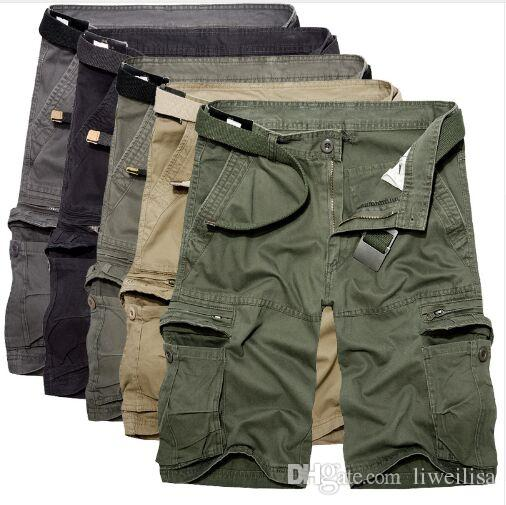 короткие трусы Активные Брюки Мужчины Весна Army Green Fashion Cargo промежности бегуна заплатки Брюки Мужской Easy Wash Большие Камуфляж Грузовые брюки