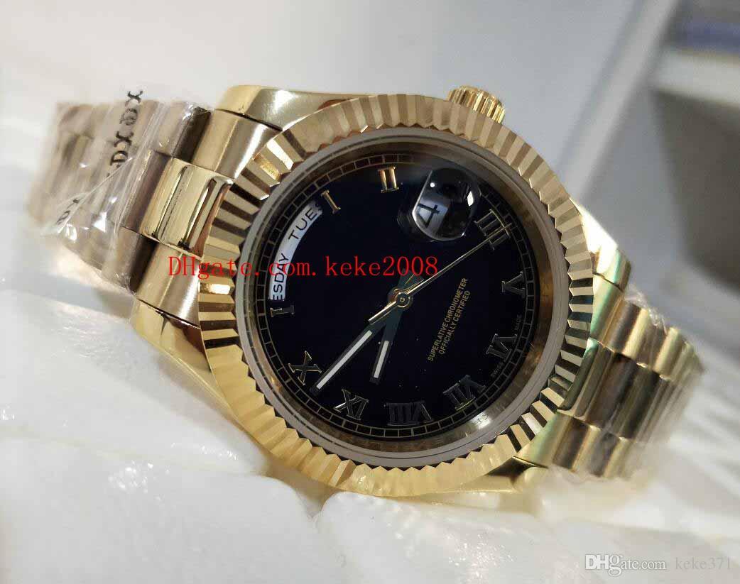 Relojes de pulsera de alta calidad de lujo Día-Fecha II 118238 40mm Marrón Roman Dial 18K Oro Acero Asia 2813 Movimiento Reloj automático para hombre Relojes