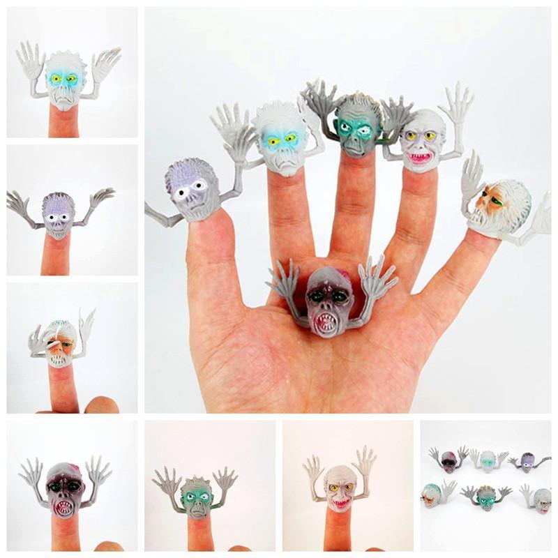 6pcs/lot Ghost Finger Puppet for Telling Stories Jokes Gags Pranks Educational Doll Hand PVC Maker Gifts for Children Kids