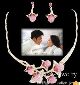 wonderful diamond crystal flower wedding bride set necklace earings (spwhy) tfgf