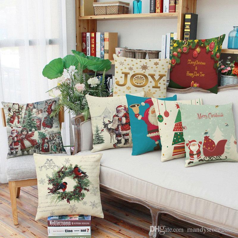 2018 New Style Vintage Christmas Santa Claus Linen Cotton Blend Pillowcase Sofa Pillow Covers Home Car Bed Office Chair Xmas Pillowcase