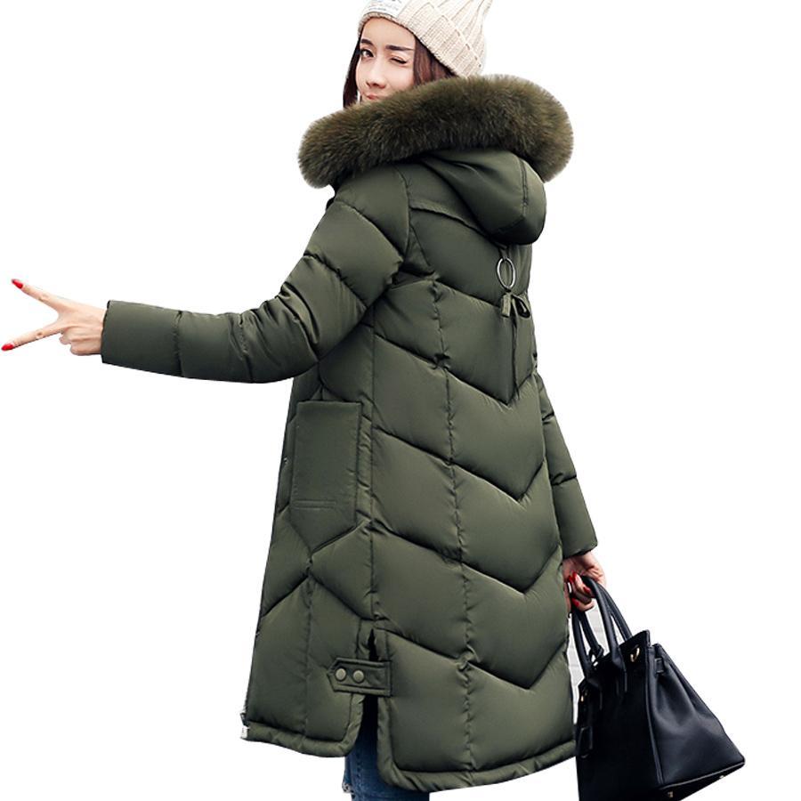 Женские куртки 2018 меховой куртка с капюшоном для женщин мягкий хлопок вниз зимнее пальто женщин длинные куртка женская пальто одежда плюс размер C18110601