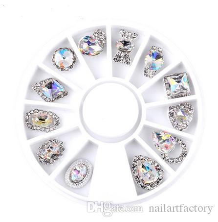Rotella di cristallo di arte del chiodo AB strass Diamante Gemme metallo Glitter 3D Punte accessori attrezzi dei monili del manicure della decorazione di DIY design