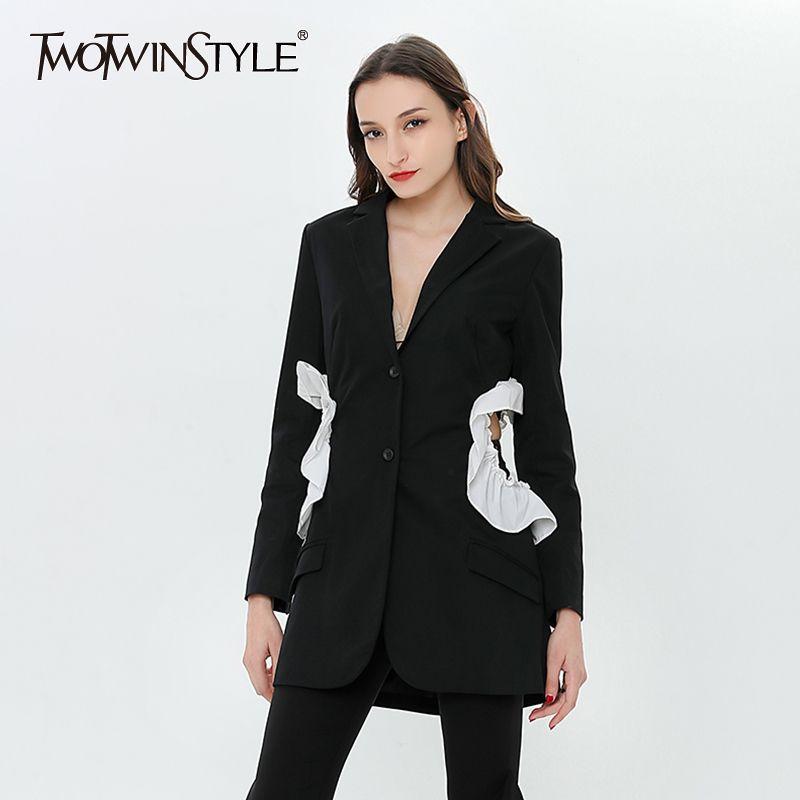 TWOTWINSTYLE Blazer Suit Patchwork à volants Femmes Veste Veste Manteau Femme À Manches Longues Vêtements Coréenne Grande Taille 2018 S18101303