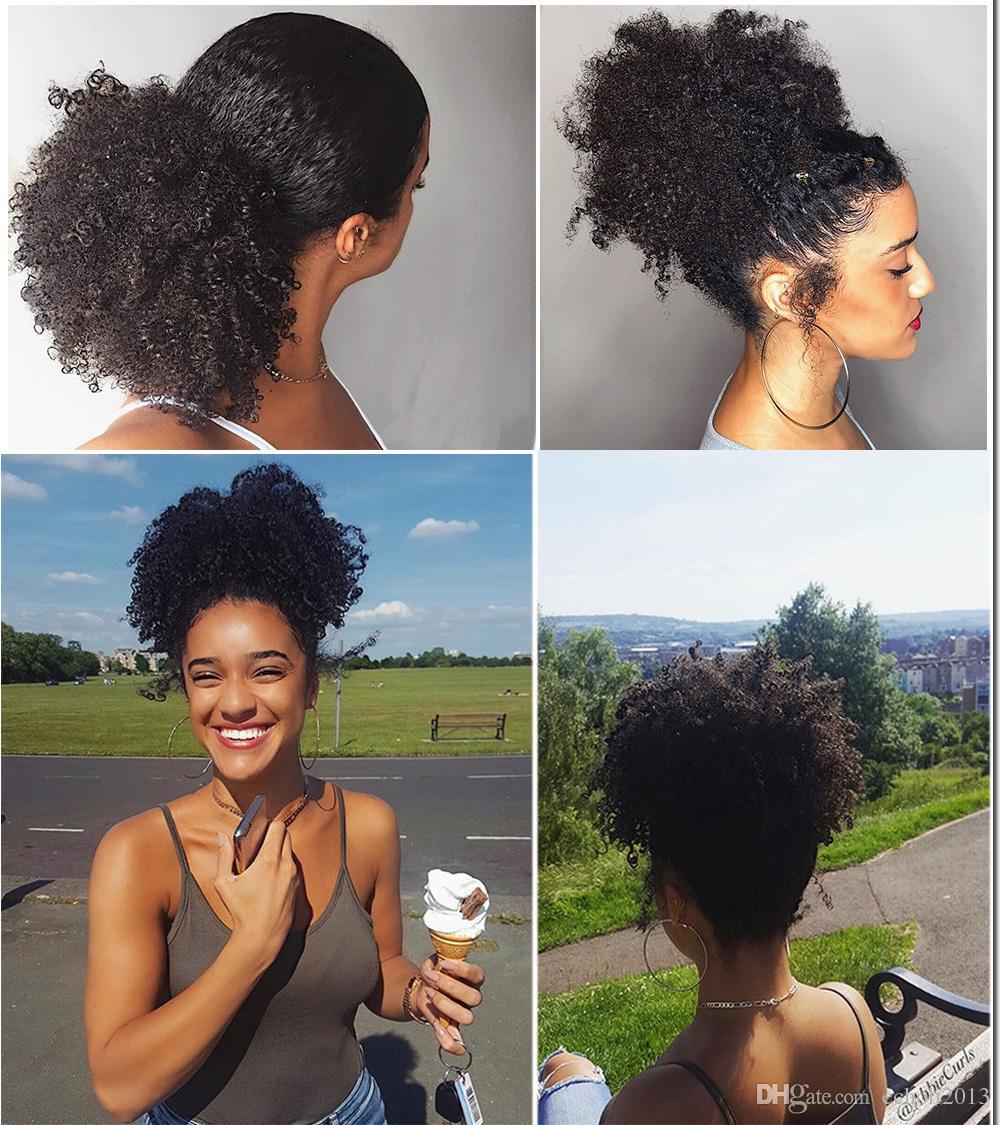 Großhandel Afro Kinky Curly Weave Pferdeschwanz Frisuren Clip Ins ...