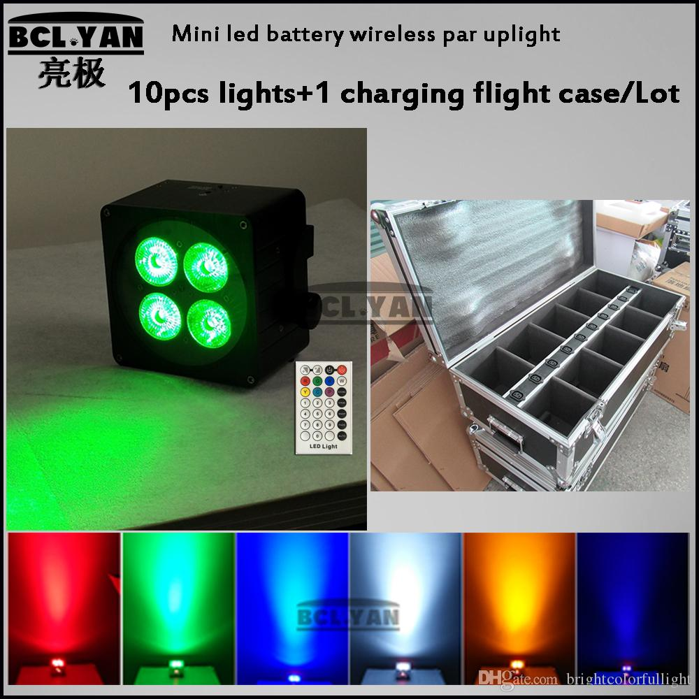 New 4 18W 6IN1 RGBWA UV Wireless Battery Flat Led Par Light DMX 6/10 with IR remote 10 pcs lights with case