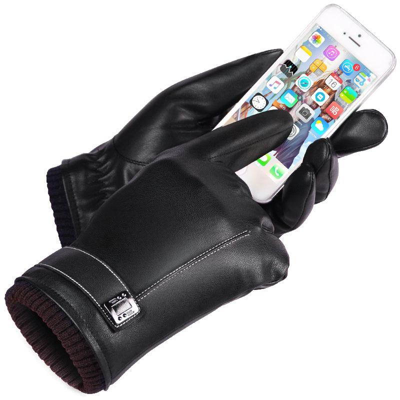 Leather Gloves Men's Winter Gloves Touch Screen Windproof Keep Warm Driving Guantes Male Autumn and Winter Leather Gloves Black S1025