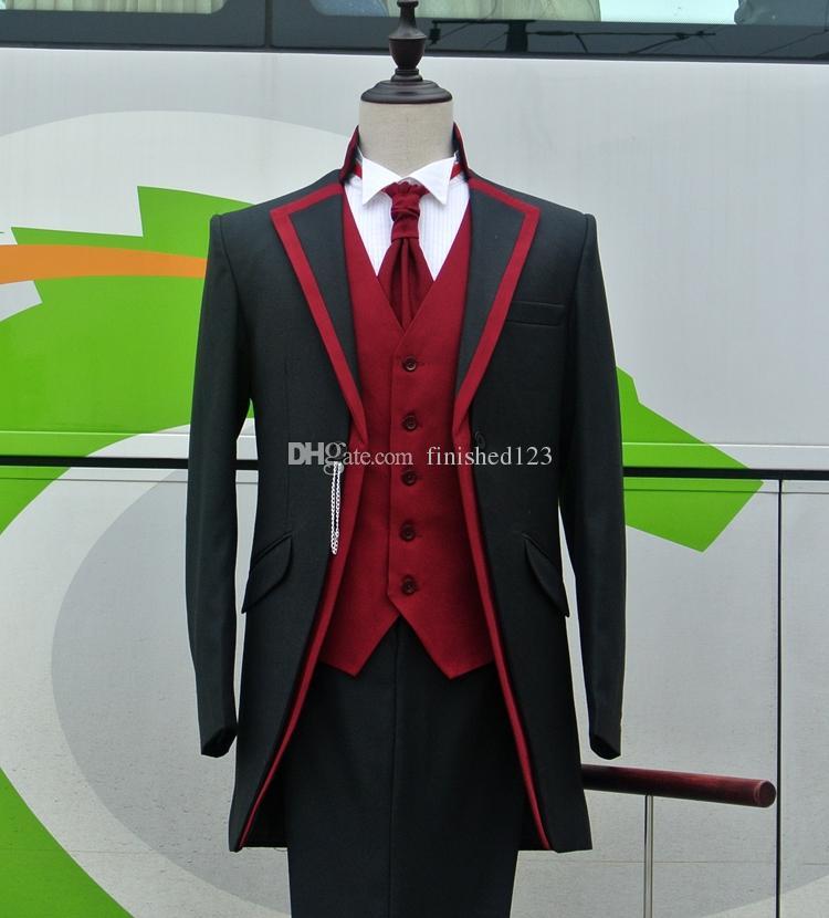 photo réelle Un bouton noir de mariage smokings marié Notch Lapel Groomsmen Mens Blazer dîner costumes (veste + pantalon + veste + Tie) NO: 1613