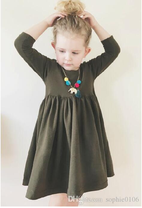 Baby Girl Vestido de manga larga de color sólido Baby Spring and Autumn Boat Neck Skirts Ropa de niños BRC 012