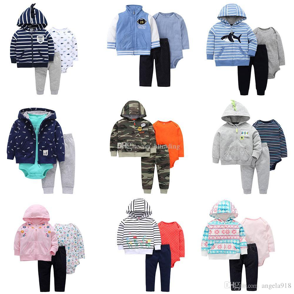 Baby girls boys Stripe outfits children romper+Hooded coat+pants 3pcs/set Boutique Floral suits kids Camouflage Clothing Sets 22colors C4397