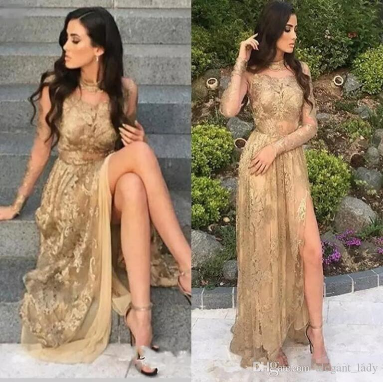 Sexy Gold Illusion Bodices Long Prom Dresses 2018 High Neck Sheer Long Sleeves Side Split Evening Gowns Vintage Arabic Fashion Wear