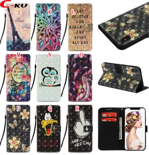 3D Bling Dreamcatcher Butterfly Wallet Leather Case For Iphone XR XS Max X Samsung Galaxy NOTE9 Mandala Skull Forest Owl Unicorn Tower Cover