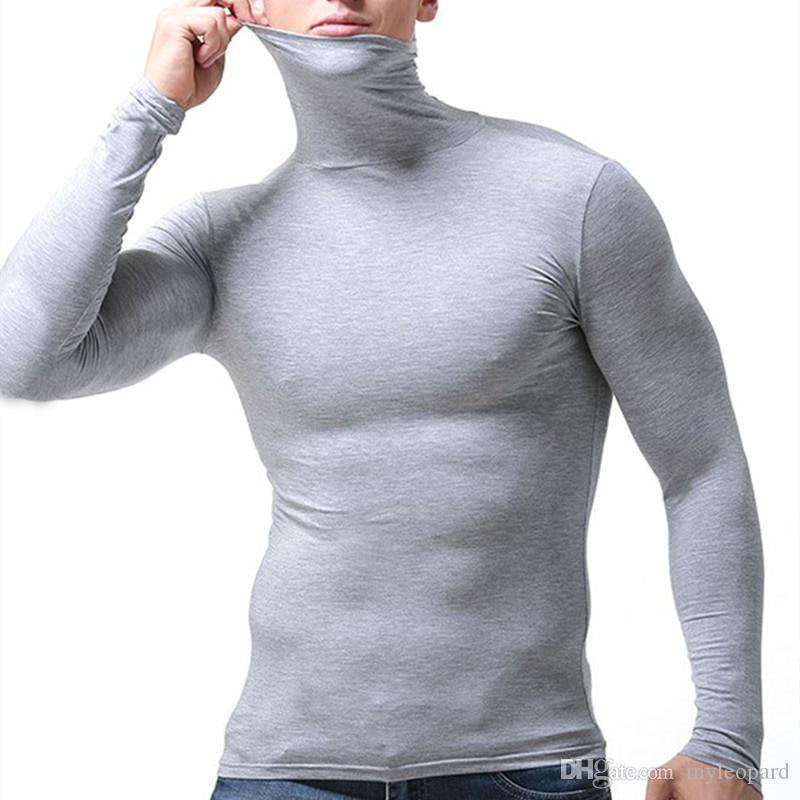 tshirt men t shirt clothing long sleeve t-shirt pullover turtleneck thermal t-shirts tops tees slim tight sexy autumn spring t shirts