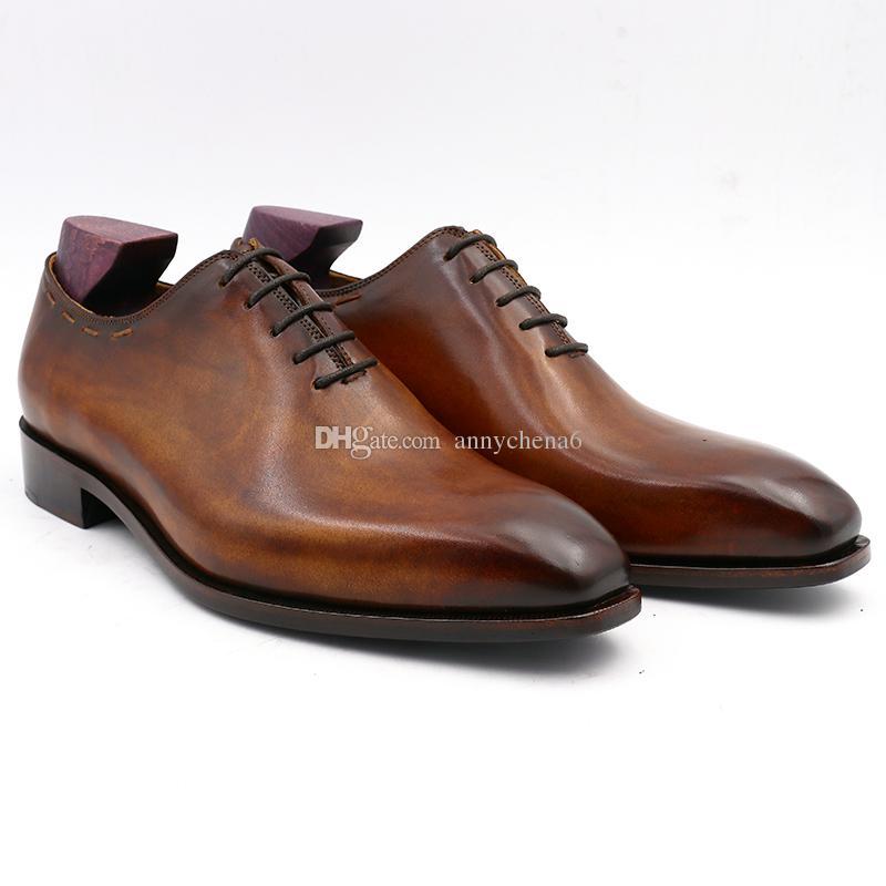 Chaussure habillée pour homme Oxford chaussure faite sur mesure, chaussure faite à la main en cuir de veau véritable, à bout carré, entièrement coupée, de couleur marron OX-008